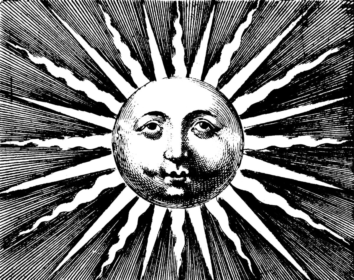 A vintage black and white engraving of the sun. It has a man's face on the disc, and is surrounded by alternating straight and wavy rays, giving the impression of shimmering.